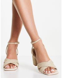 NA-KD Raffia Braided Heels - Natural