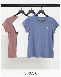 Abercrombie & Fitch 3 Pack Crew Neck T-shirt - Blue