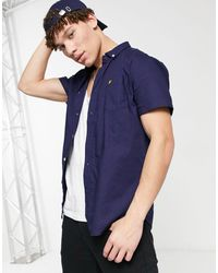 Lyle & Scott Темно-синяя Оксфордская Рубашка С Короткими Рукавами -темно-синий