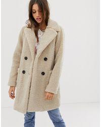 New Look Teddy Coat In Cream - Natural