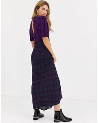 RahiCali Rahi Cher Check Maxi Dress-purple