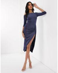 AX Paris - Темно-синее Платье С Открытыми Плечами И Разрезом -темно-синий - Lyst