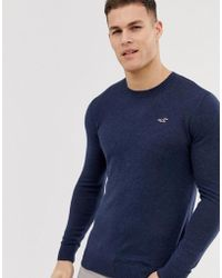 Hollister Lightweight Muscle Fit Crew Neck Knit Sweater In Navy Marl - Blue