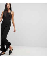 ASOS - Jumpsuit With Square Neck And Frill Hem - Lyst