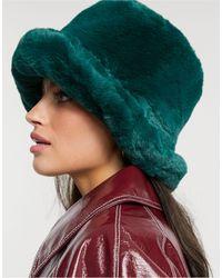 ASOS Bucket Hat Van Imitatiebont - Groen