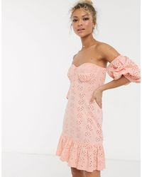 ASOS Vestido veraniego corto rosa con bajo a capas y diseño