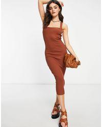 ASOS Vestido midi marrón con escote cuadrado