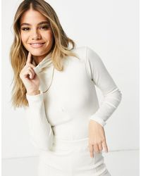 Missguided Co-ord Bodysuit With Funnel Neck - White