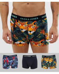 Jack & Jones 3 Pack Trunks In Safari Prints - Multicolour