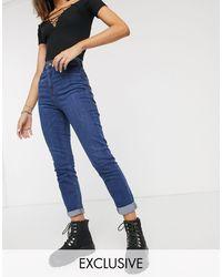 Collusion X011 - mom jeans slim stone wash scuro - Blu