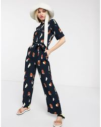 Monki Jumpsuit Met Print - Blauw