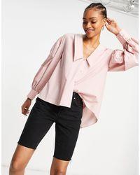 ASOS Camicia con colletto voluminoso aperta dietro rosa