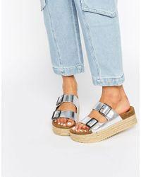 Pull&Bear - Silver Platform Sandals - Lyst