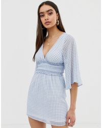 Fashion Union - Plunge Front Dress In Gingham - Lyst