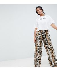 ASOS - Asos Design Petite Leopard Print Woven Wide Leg Trouser With Cropped Jersey Tee - Lyst