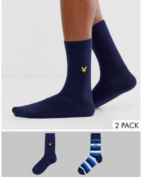 Lyle & Scott 2 Pack Striple And Solid Socks