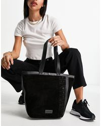 Urbancode Real Leather And Suede Tote Bag - Black