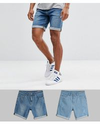 ASOS - 2 Pack Slim Denim Shorts With Abrasions In Light Wash Blue And Mid Wash Blue - Lyst