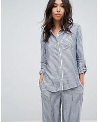Abercrombie & Fitch Stripe Pajamas Shirt - Blue