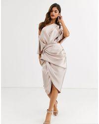 ASOS Vestido midi con diseño drapeado asimétrico en satén - Multicolor