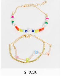 Monki Koa 2 Pack Beaded Bracelets - Multicolour