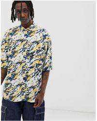 Noak Oversized Paint Splatter Shirt In Ecru - Multicolour