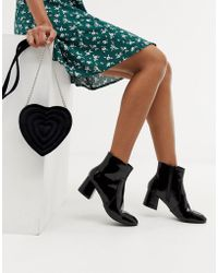 Oasis - Heeled Ankle Boots In Black Patent - Lyst
