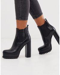 SIMMI Shoes Simmi London - Aura - Stivaletti Chelsea neri con plateau spesso - Nero