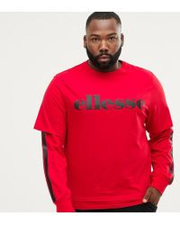 Ellesse - Layered Long Sleeve T-shirt With Side Stripe In Red - Lyst