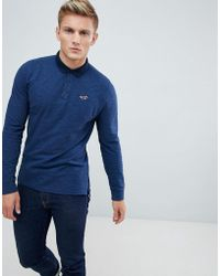 Hollister - Long Sleeve Pique Polo Contrast Collar Seagull Logo In Blue - Lyst