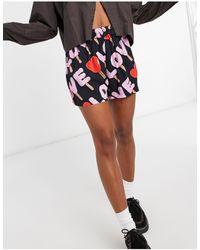 Love Moschino Черные Шорты С Разноцветным Принтом -черный - Многоцветный