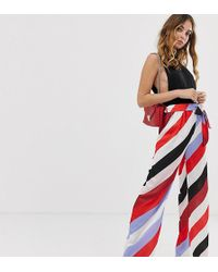 Boohoo Wide Leg Trousers In Bright Stripe - Red