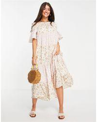 River Island Розовое Ярусное Платье Макси С Вырезом Лодочкой И Разнообразным Принтом -розовый Цвет