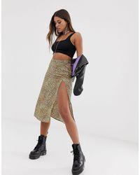 Motel Midi Skirt With Thigh Split - Multicolour