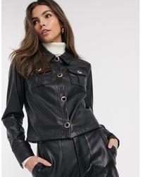 River Island Faux Leather Utility Shirt - Black