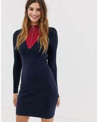 Jack Wills Sports Zip Knitted Dress - Blue