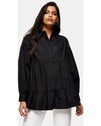 TOPSHOP Tiered Poplin Shirt - Black