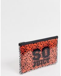 Juicy Couture Zoey Large Pouch With Removable Bag In Black And Orange