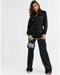 Missguided Chiffon Shirt Jumpsuit With Satin Legs - Black