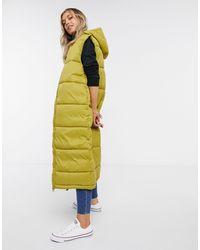 Monki Lizz Recycled Sleeveless Long Padded Jacket - Green