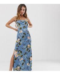 Missguided Satijnen Maxi-jurk Met Gedrapeerde Hals En Zijsplit In Blauwe Bloemenprint