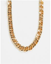 ASOS Necklace With Chunky Curb Chain - Metallic