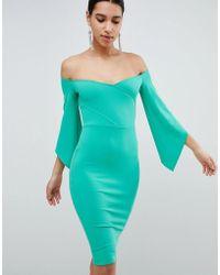 Club L - Bardot Pencil Dress With 3/4 Sleeve - Lyst