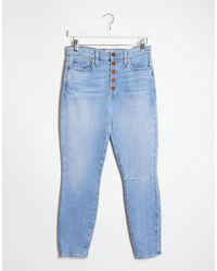 Alice + Olivia Jeans skinny a vita alta blu con bottoni a vista