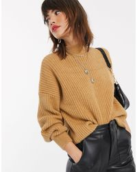 Stradivarius Ribbed Sweater With Volume Sleeves - Natural