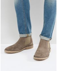 Jack & Jones - Suede Chelsea Boot In Stone - Lyst