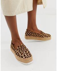 ASOS Jenna Leather Leopard Flatform Espadrilles - Brown