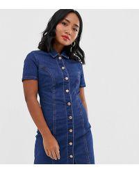 New Look - Button Through Western Denim Dress In Blue - Lyst