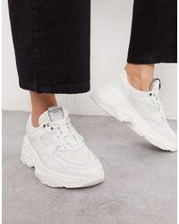 SELECTED Femme - Leren Sneakers Met Dikke Zool En Sportief Mesh - Wit