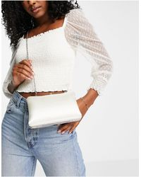 True Decadence Exclusive Structured Clutch Bag With Metal Top Handle - White